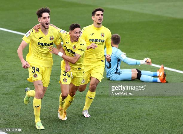 Fernando Nino of Villarreal celebrates with teammate Yeremi Pino after scoring their team's first goal during the La Liga Santander match between...
