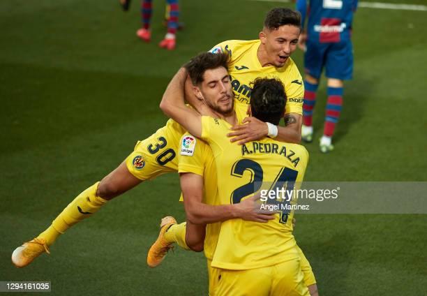 Fernando Nino of Villarreal celebrates with teammates after scoring their team's first goal during the La Liga Santander match between Villarreal CF...