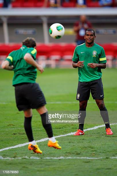 Fernando of Brazil waits for the ball during the Brazil Training Session at the FIFA Confederations Cup 2013 at Estadio Nacional on June 14 2013 in...