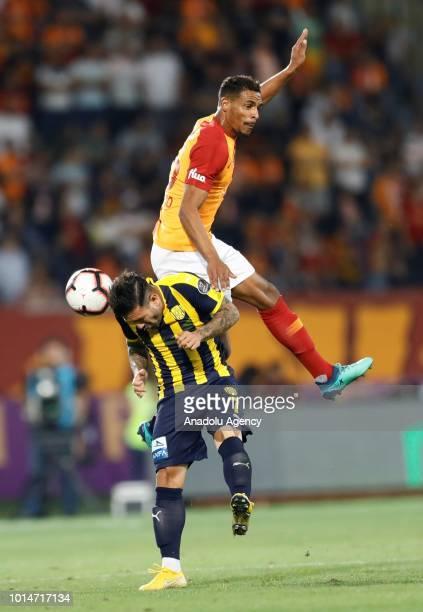 Fernando of Galatasaray vies with Kenan Ozer of MKE Ankaragucu during Turkish Super Lig's new season's debut match between MKE Ankaragucu and...