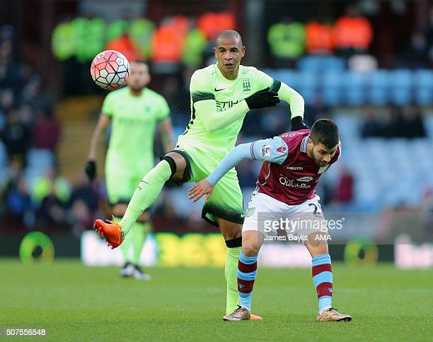 Fernando of Manchester City and Carles Gil of Aston Villa during the Emirates FA Cup match between Aston Villa and Manchester City at Villa Park on...