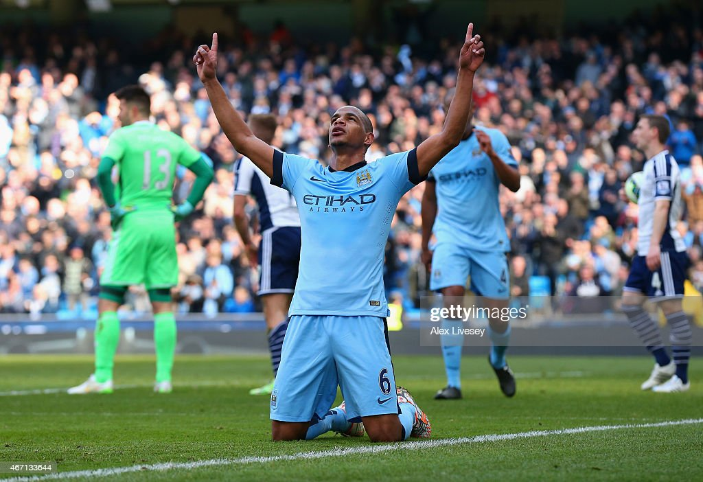 Fernando of Manchester City celebrates scoring their second goal during the Barclays Premier League match between Manchester City and West Bromwich Albion at Etihad Stadium on March 21, 2015 in Manchester, England.