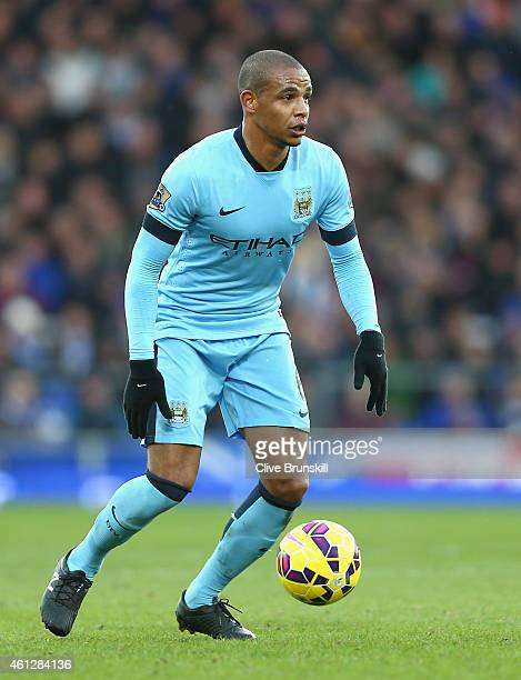 Fernando of Manchester City in action during the Barclays Premier League match between Everton and Manchester City at Goodison Park on January 10...