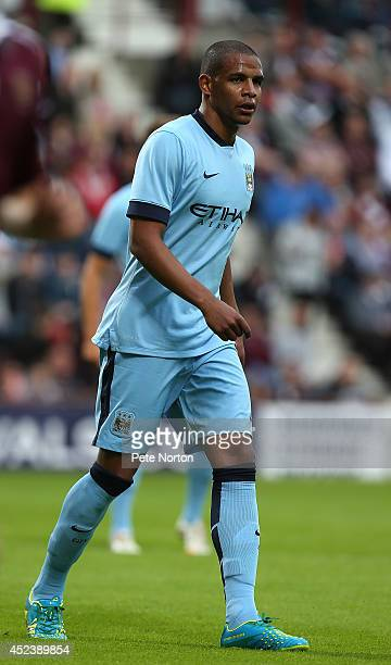 Fernando of Manchester City in action during the Pre Season Friendly match between Hearts and Manchester City at Tyncastle Stadium on July 18 2014 in...
