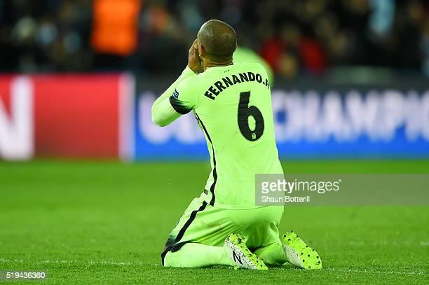 Fernando of Manchester City shows his dejection after his pass hitting Zlatan Ibrahimovic of Paris SaintGermain resulting in Paris SaintGermain's...