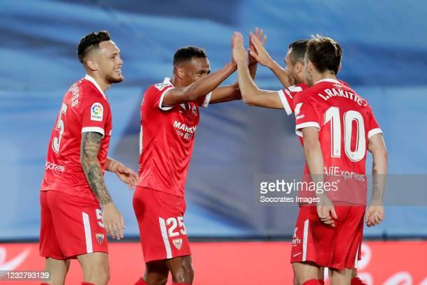 Fernando of Sevilla FC Celebrates 0-1 with Lucas Ocampos of Sevilla FC, Ivan Rakitic of Sevilla FC during the La Liga Santander match between Real...