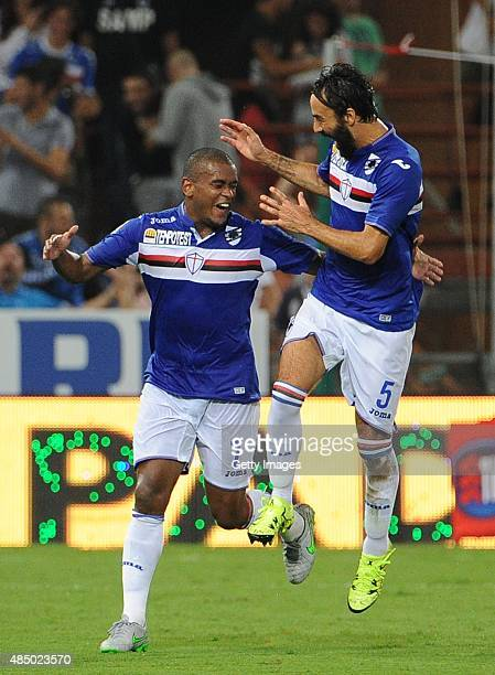 Fernando of UC Sampdoria celebrates after scoring his side fifth goal goal during the Serie A match between UC Sampdoria and Carpi FC at Stadio Luigi...