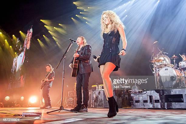 Fernando Olvera of Mana and Shakira perform on stage at Palau Sant Jordi on September 6 2015 in Barcelona Spain