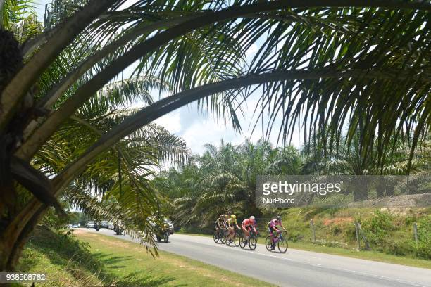 Fernando Orjuela Gutierrez from Manzana Postobon Team leads the six men's breakaway during the fifth stage the mountain stage of 1694km from Bentong...