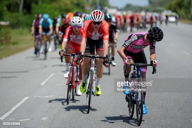 Fernando Orjuela Gutierrez of Manzana Postobon Team Columbia leads the peloton during Stage 1 of the Le Tour de Langkawi 2018 KangarKulim 1479 km on...