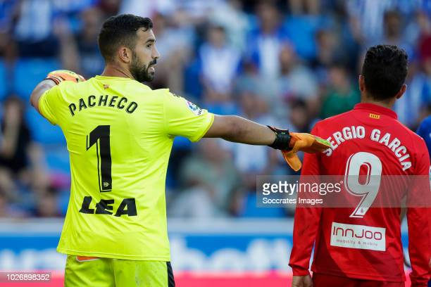 Fernando Pacheco Flores of Deportivo Alaves CF Sergio Garcia de la Fuente of RCD Espanyol during the La Liga Santander match between Deportivo Alaves...