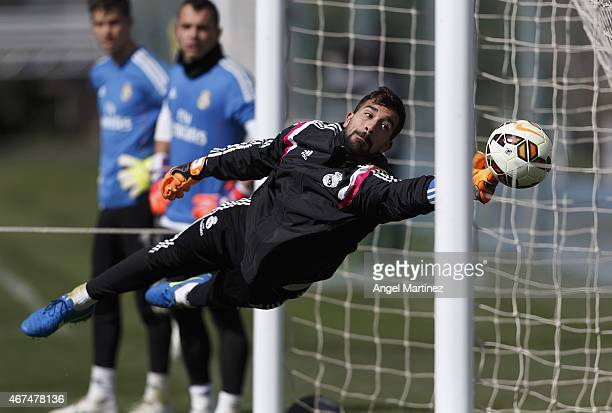 Fernando Pacheco of Real Madrid in action during a training session at Valdebebas training ground on March 25, 2015 in Madrid, Spain.