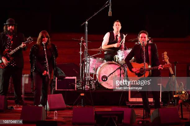 Fernando Perdomo Cat Power and Jakob Dylan perform onstage during the 2018 LA Film Festival opening night premiere of Echo In The Canyon at John...