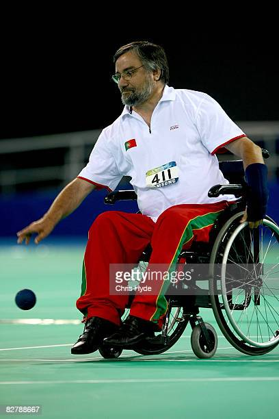 Fernando Pereira of Portugal competes in the Boccia pairs-BC3 Athletics event at the National Fencing Hall during day six of the 2008 Paralympic...