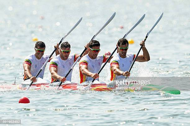 Fernando Pimenta Emanuel Silva Joao Ribeiro and David Fernandes of Portugal compete in the Men's Kayak Four 1000m on Day 14 of the Rio 2016 Olympic...