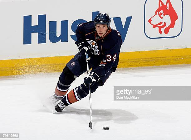 Fernando Pisani of the Edmonton Oilers skates against the Calgary Flames during their NHL game at Rexall Place on February 4 2008 in Edmonton Alberta...