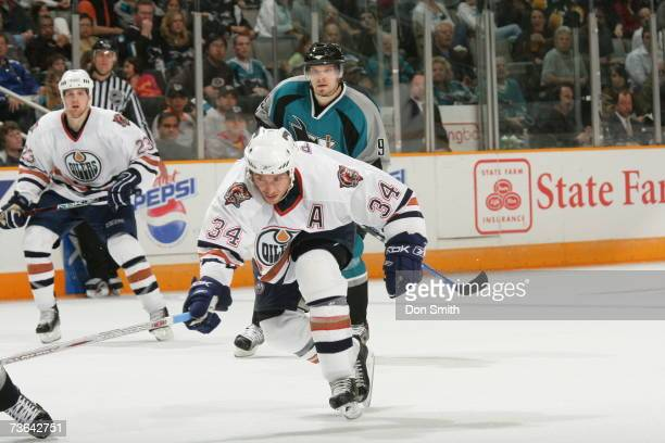 Fernando Pisani of the Edmonton Oilers skates during a game against the San Jose Sharks on March 11 2007 at the HP Pavilion in San Jose California...