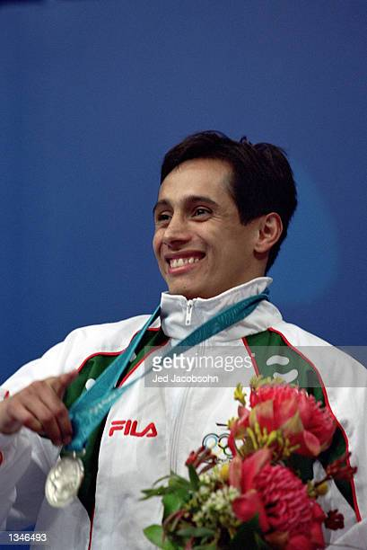 Fernando Platas of Mexico celebrates his silver medal win in the Men's 3m Springboard during the Sydney 2000 Olympic Games on September 26,2000 at...