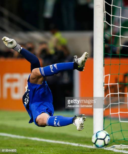 Fernando Prass of Palmeiras in action during the match between Palmeiras and Corinthians for the Brasileirao Series A 2017 at Allianz Parque Stadium...