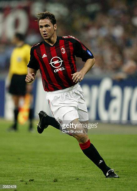 Fernando Redondo of AC Milan in action during the UEFA Champions League SemiFinal First Leg match between AC Milan and Internazionale Milano held on...
