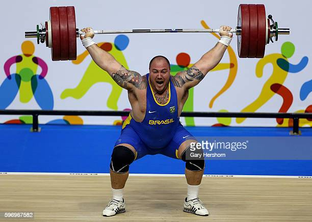 Fernando Reis of Brazil successfully lifts 192kg in the snatch competiton of the 105kg group in weightlifting at the Toronto 2015 PanAm Games in...