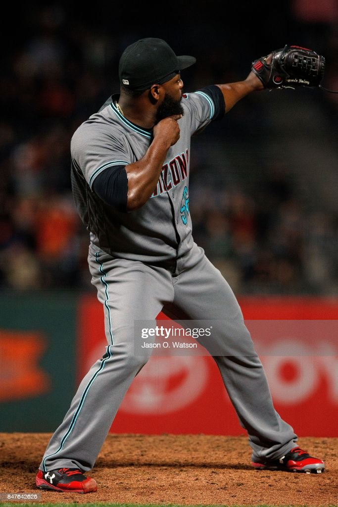 Fernando Rodney #56 of the Arizona Diamondbacks celebrates after the game against the San Francisco Giants at AT&T Park on September 15, 2017 in San Francisco, California. The Arizona Diamondbacks defeated the San Francisco Giants 3-2.