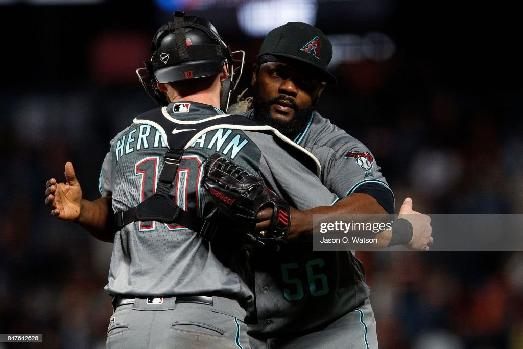 Fernando Rodney #56 of the Arizona Diamondbacks celebrates with Chris Herrmann #10 after the game against the San Francisco Giants at AT&T Park on September 15, 2017 in San Francisco, California. The Arizona Diamondbacks defeated the San Francisco Giants 3-2.