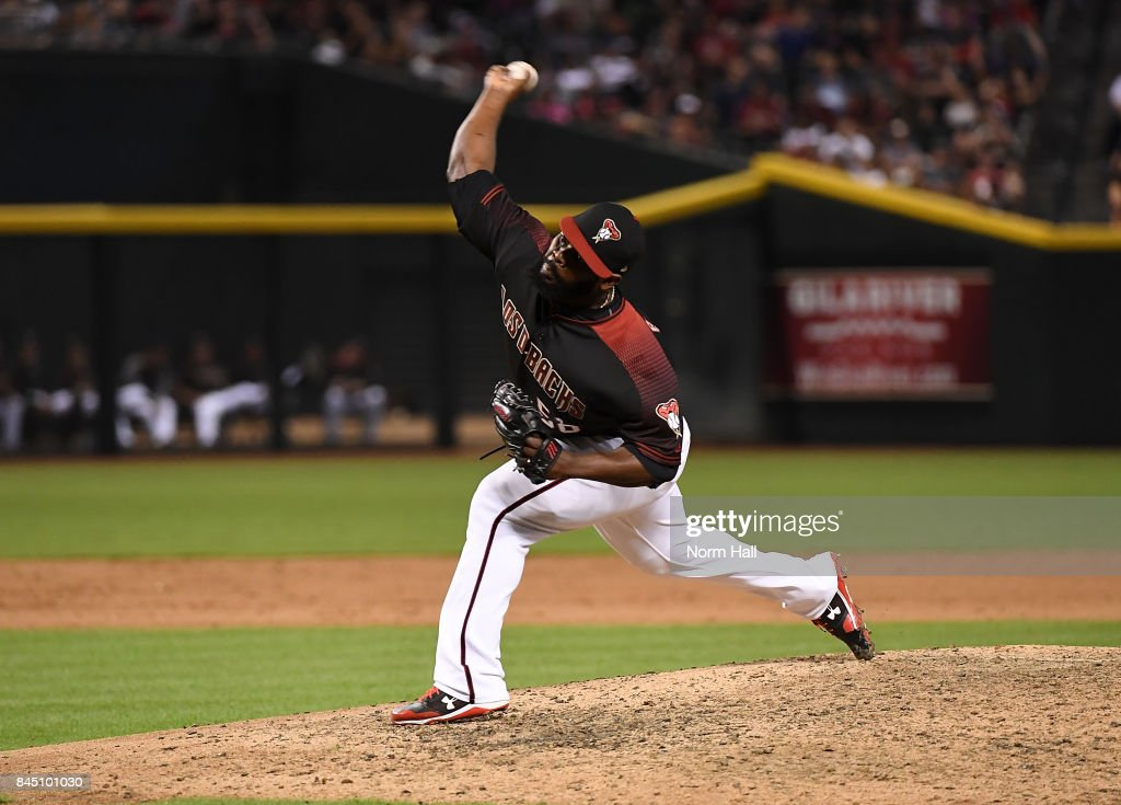 Fernando Rodney #56 of the Arizona Diamondbacks delivers a ninth inning pitch against the San Diego Padres at Chase Field on September 9, 2017 in Phoenix, Arizona. Padres won 8-7.