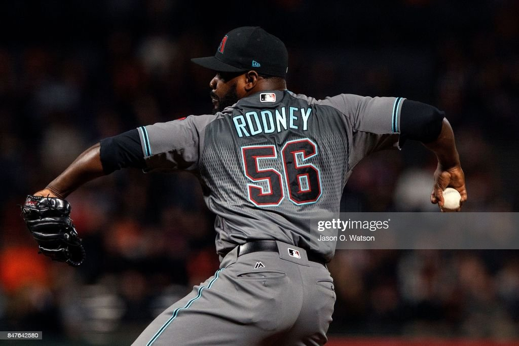 Fernando Rodney #56 of the Arizona Diamondbacks pitches against the San Francisco Giants during the ninth inning at AT&T Park on September 15, 2017 in San Francisco, California. The Arizona Diamondbacks defeated the San Francisco Giants 3-2.