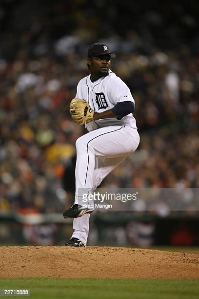 Fernando Rodney of the Detroit Tigers pitches during Game One of the 2006 World Series on October 21, 2006 at Comerica Park in Detroit, Michigan. The...