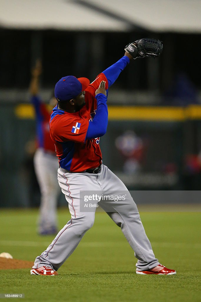 Fernando Rodney #56 of the Dominican Republic celebrates a 4-2 win against Puerto Rico during the first round of the World Baseball Classic at Hiram Bithorn Stadium on March 10, 2013 in San Juan, Puerto Rico.