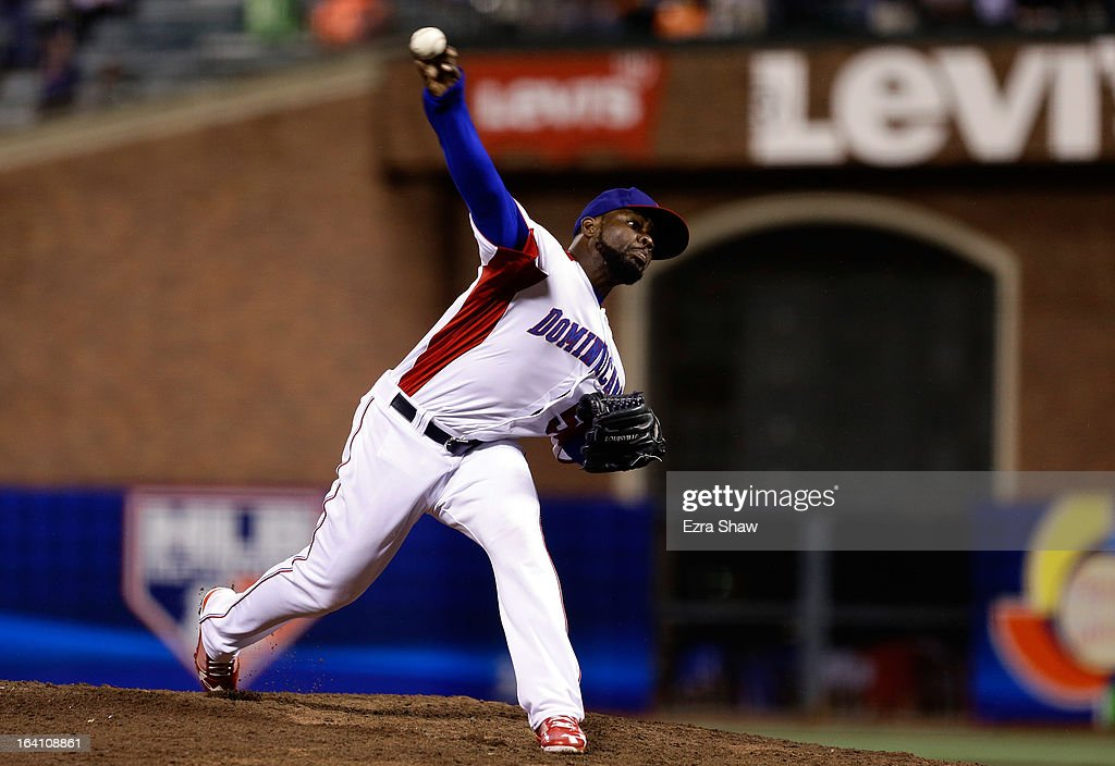 Fernando Rodney #56 of the Dominican Republic pitches against Puerto Rico during the Championship Round of the 2013 World Baseball Classic at AT&T Park on March 19, 2013 in San Francisco, California.