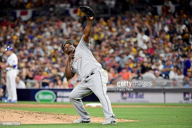 Fernando Rodney of the Miami Marlins and the National League waves to the crowd during the 87th Annual MLB AllStar Game at PETCO Park on July 12 2016...