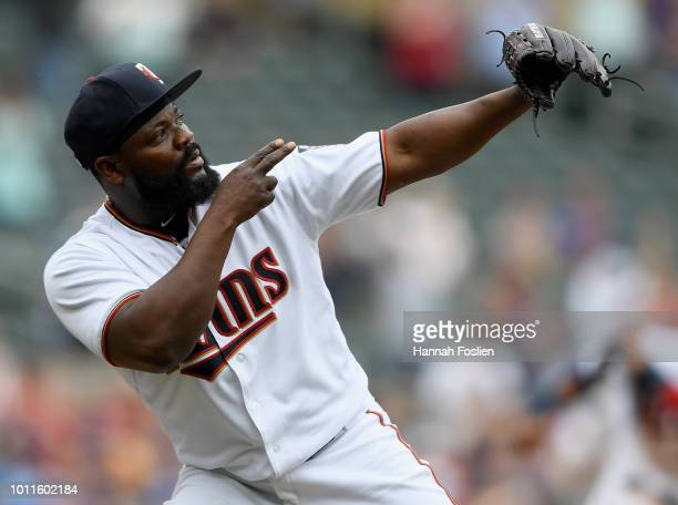 Fernando Rodney of the Minnesota Twins celebrates defeating the Kansas City Royals after the game on August 5 2018 at Target Field in Minneapolis...