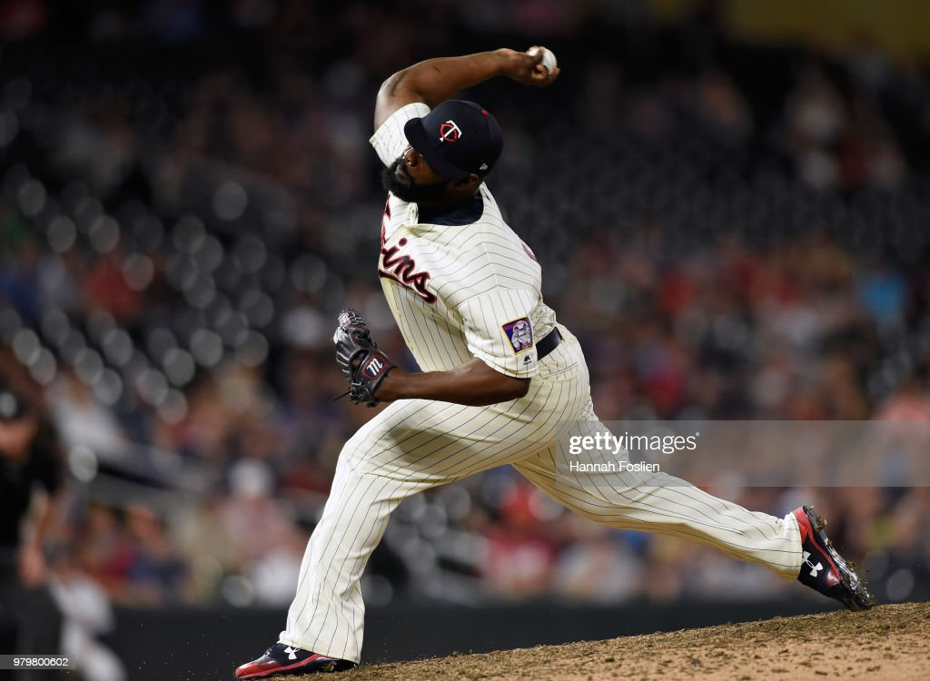 Fernando Rodney #56 of the Minnesota Twins delivers a pitch against the Boston Red Sox during the ninth inning of the game on June 20, 2018 at Target Field in Minneapolis, Minnesota. The Twins defeated the Red Sox 4-1.