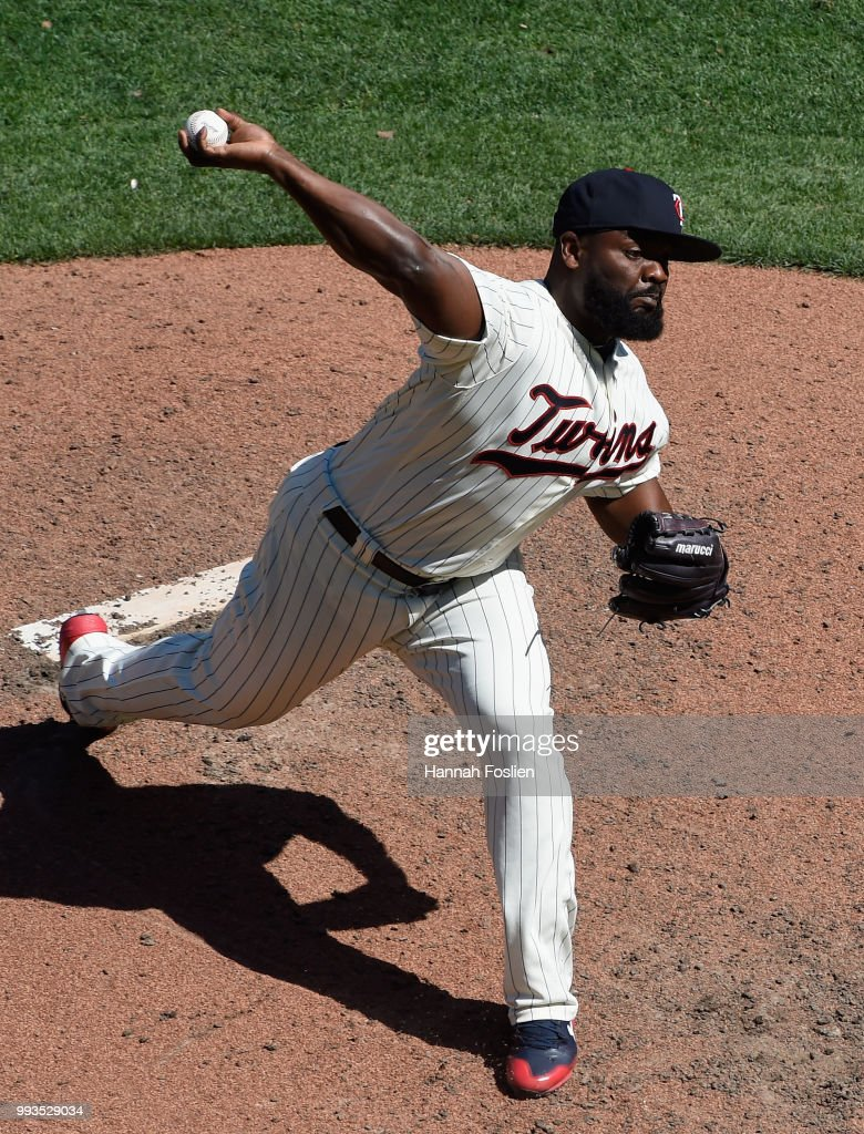 Fernando Rodney #56 of the Minnesota Twins delivers a pitch against the Baltimore Orioles during the ninth inning of the game on July 7, 2018 at Target Field in Minneapolis, Minnesota. The Twins defeated the Orioles 5-4.