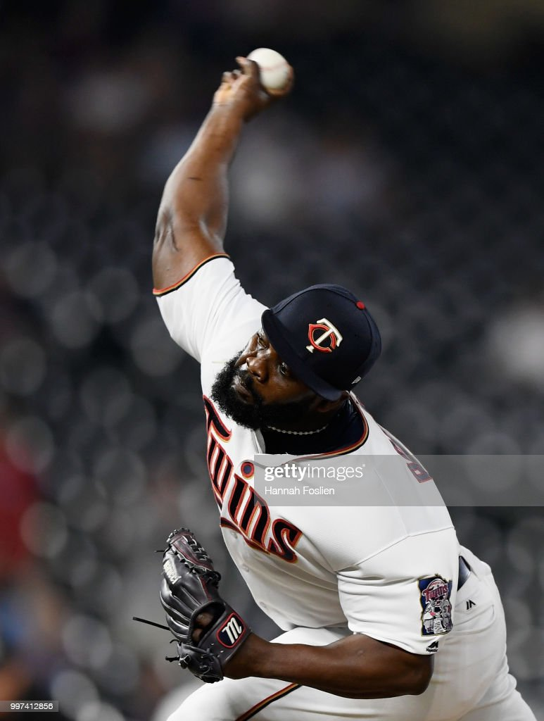 Fernando Rodney #56 of the Minnesota Twins delivers a pitch against the Tampa Bay Rays during the ninth inning of the game on July 12, 2018 at Target Field in Minneapolis, Minnesota. The Twins defeated the Rays 5-1.