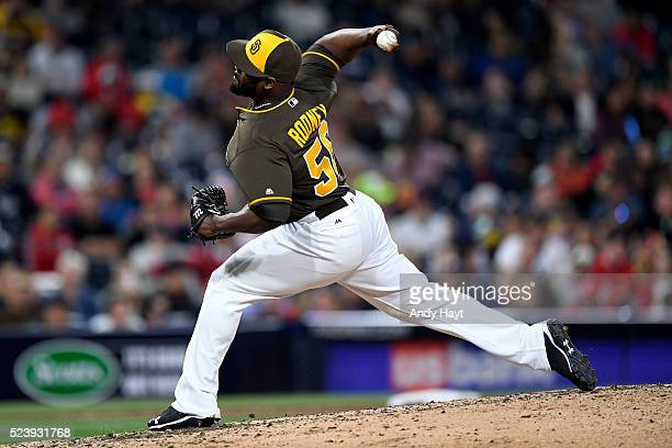 Fernando Rodney of the San Diego Padres pitches in the ninth inning during a game against the St Louis Cardinals at Petco Park on April 22 2016 in...