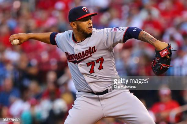 Fernando Romero of the Minnesota Twins delivers a pitch against the St Louis Cardinals in the first inning at Busch Stadium on May 7 2018 in St Louis...