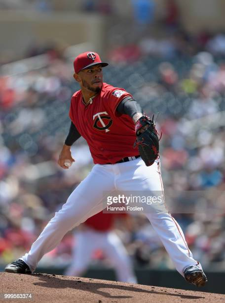 Fernando Romero of the Minnesota Twins delivers a pitch against the Tampa Bay Rays during the first inning of the game on July 15 2018 at Target...