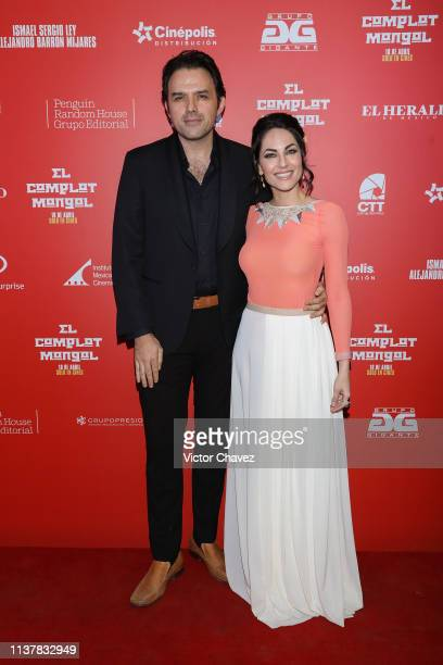 Fernando Rovzar and Barbara Mori attend El Complot Mongol Mexico City premiere at Cinepolis Diana on April 17 2019 in Mexico City Mexico