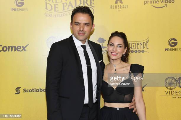 Fernando Rovzar and Barbara Mori attend the Mentada de Padre Mexico City premiere red carpet at Cinemax Antara Polanco on August 13 2019 in Mexico...