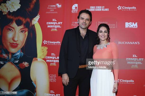 Fernando Rovzar and Barbara Mori pose for photos at the red carpet prior the premiere of the film 'Complot Mongol' at Cinepolis Diana on April 17...