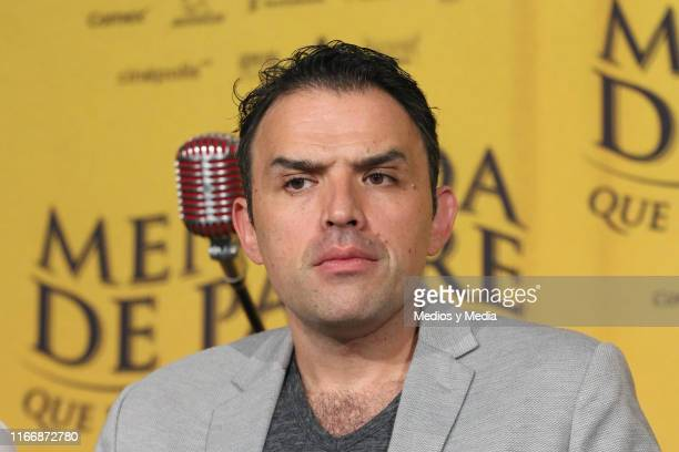 Fernando Rovzar gestures during a press conference of the film 'Mentada de Padre' at Cinepolis Universidad on August 8 2019 in Mexico City Mexico
