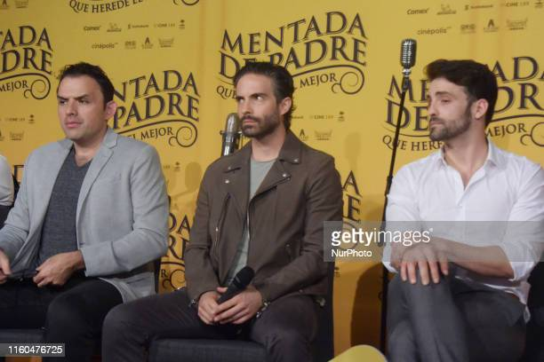 Fernando Rovzar Osvaldo Benavides and Antonio Gaona speaks during a press conference to promote the movie 'Mentada de Padre' at Cinepolis Plaza...