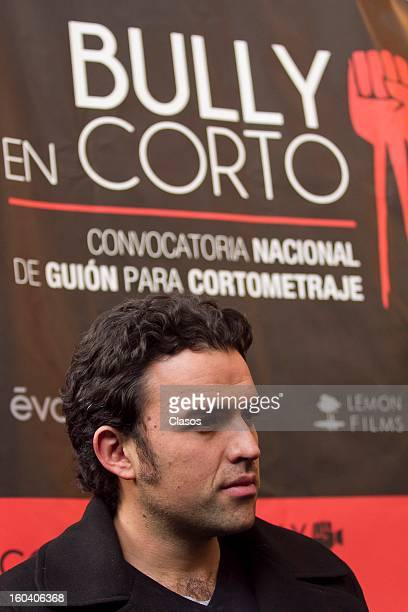 Fernando Rovzar speaks during a press conference to present Bully en Corto the movie on January 30 2013 in Mexico City Mexico