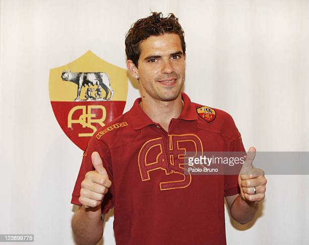 Fernando Ruben Gago attends is unveilied as new AS Roma palyer during a press conference at Centro Sportivo Fulvio Bernardini on September 5 2011 in...