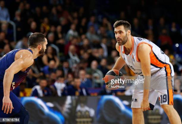 Fernando San Emeterio and Pau Ribas during the match between FC Barcelona v Anadolou Efes corresponding to the week 8 of the basketball Euroleague in...
