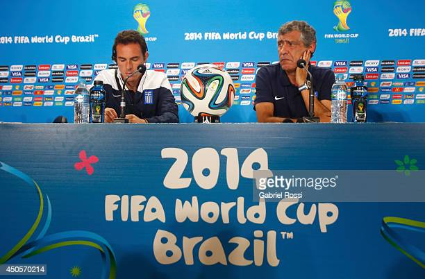 Fernando Santos coach of Greece looks on during the press conference of Greece ahead of the Group C match between Greece and Colombia as part of FIFA...