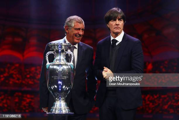 Fernando Santos Head Coach of Portugal and Joachim Loew Head Coach of Germany speak on stage after the UEFA Euro 2020 Final Draw Ceremony at the...